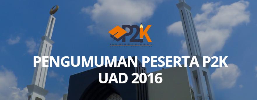 pengumuman p2k UAD 2016